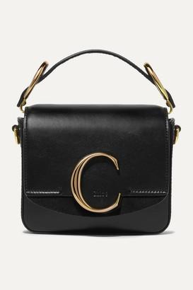 Chloé C Mini Suede-trimmed Leather Shoulder Bag - Black