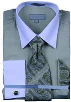 Sunrise Outlet Mens Glenplaid Cotton Shirt Tie Cufflink Set - 16.5 36-37