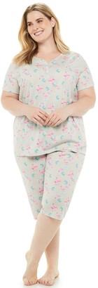 Croft & Barrow Plus Size Sleep Henley & Skimmer Capris Pajama Set