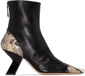 REJINA PYO Marley 80mm snake-print ankle boots