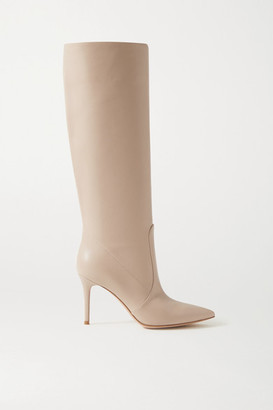 Gianvito Rossi 85 Leather Knee Boots - Neutral