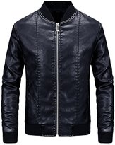 S-7 Men's Pure Color Pu Leather Bomber Motorcycle Jacket