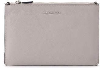 Michael Kors Double Pouch Shoulder Bag In Gray Leather