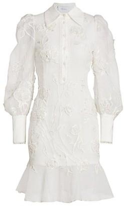 Marchesa Embroidered Puff-Sleeve Flutter Shirtdress