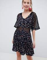 ASOS DESIGN lace insert mini casual tea dress in ditsy floral