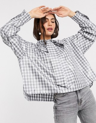 GHOSPELL oversized shirt in high shine check with pussybow tie