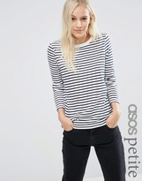 Asos Long Sleeve Crew Neck Stripe T-Shirt With Tipping
