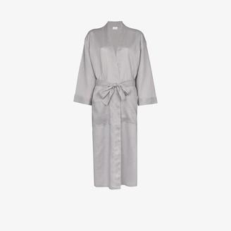 POUR LES FEMMES Grey long linen robe
