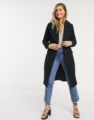 Forever New long wrap coat in black