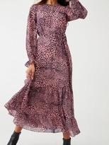 Whistles Wild Cat Tiered Midi Dress - Multi