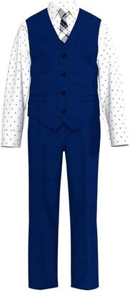 Van Heusen Toddler Boy 4-Piece Blue Heather Poplin Vest Set