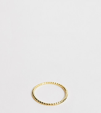ASOS DESIGN Curve Sterling silver ring with gold plate in mini ball design