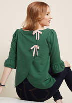 Spiffed-Up Sunday Pullover in Green in XL - Sweatshirt Waist by ModCloth