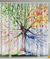 Colorful Tree Four Seasons Shower Curtain, Berry Green Red Yellow Navy Brown, Extra Long Bath Decorations Bathroom Decor Sets with Hooks Marriage Gifts for Men and Women in Art Print Polyester Fabric