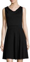 Three Dots Cowl-Front Knit Fit & Flare Dress