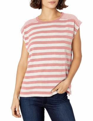 Chaps Women's Petite Short Sleeve Striped Knit Top