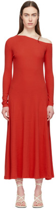 Rosetta Getty Red Off-Shoulder Flare Dress