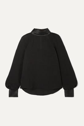 Veronica Beard Janvi Satin-trimmed Silk Crepe De Chine Blouse - Black