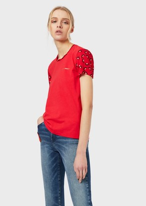 Emporio Armani T-Shirt In Jersey With Chinese New Year Patterned Profiles