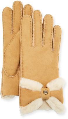 UGG Sheepskin Gloves with Bow