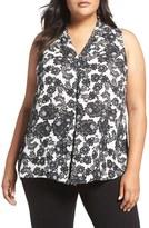 Vince Camuto Plus Size Women's Festive Lace Print V-Neck Blouse