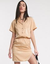Zya ZYA jaquard short sleeve shirt with revere collar co-ord