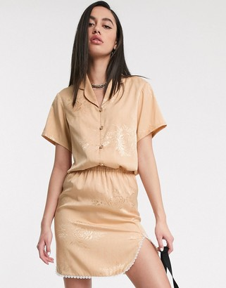 ZYA jaquard short sleeve shirt with revere collar co-ord