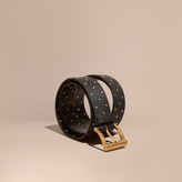 Burberry Riveted Grainy Leather Belt