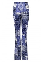 Select Fashion Fashion Womens Blue Border Tile Flare Pant - size 12