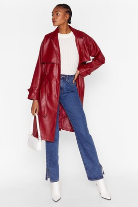 Nasty Gal Womens Forever and Faux Leather Belted Trench Coat - Red - 4, Red