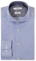 Isaac Mizrahi Blue & White Bengal Stripe Slim Fit Dress Shirt