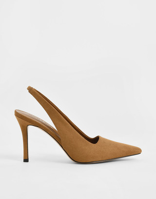 Charles & Keith Textured Stiletto Heel Slingback Pumps