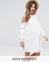 Asos Denim Shift Dress In White With Puff Sleeve And Cold Shoulder
