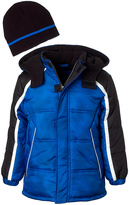 iXtreme Royal Color Block Puffer Coat & Beanie - Toddler & Boys