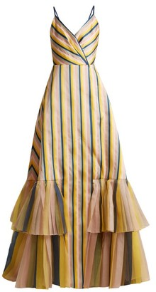 Carolina Herrera V-neck Striped Gown - Multi
