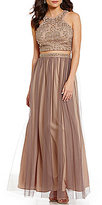 Blondie Nites Beaded Bodice Two-Piece Two-Tone Long Dress