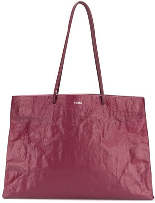 Medea Creased Effect Leather Tote Bag