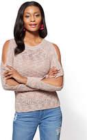 New York & Co. Open-Sleeve Crewneck Sweater - Rose