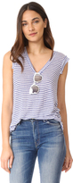 Cupcakes And Cashmere Knoll Stripe V-Neck Tee