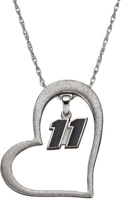 """Insignia Collection NASCAR Denny Hamlin """"11"""" Stainless Steel Heart Pendant Necklace"""
