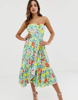 Naf Naf summer flower print dress with many volants-Multi