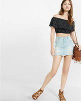 Express ikat print off the shoulder ruffle cropped top