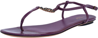 Gucci Purple Patent Leather GG Interlocking Ankle Strap Flat Sandals Size 39