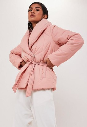Missguided Pink Wrap Puffer Jacket