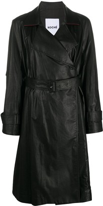 Koché Leather-Finished Trench Coat