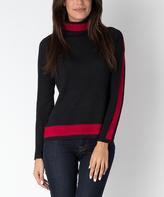Yuka Paris Black & Red Mock Neck Sweater