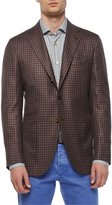 Kiton Check Cashmere Three-Button Sport Coat, Brown/Blue