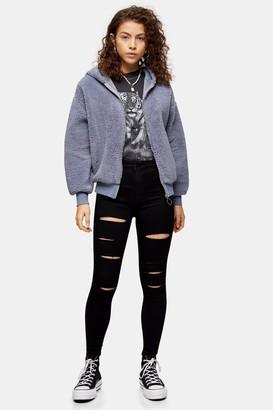 Topshop Womens Petite Black Ripped Joni Jeans - Black