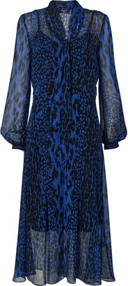 Wallis Blue Animal Print Midi Dress