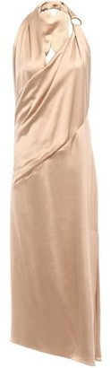 HANEY Ali Ring-embellished Silk-satin Halterneck Midi Dress